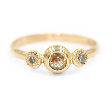 "Load image into Gallery viewer, ""Savannah"": 14K bicolor orange/blue sapphire and diamond ring"