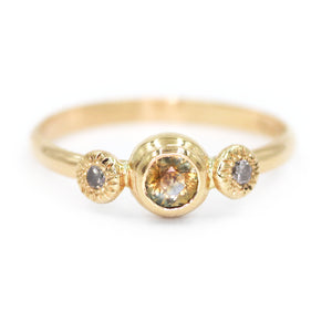 """Savannah"": 14K bicolor orange/blue sapphire and diamond ring"