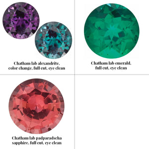 Group photo divided into 4 squares (only 3 gemstones on this photo). From top left: Chatham lab grown alexandrite, color change (from deeper violet to teal/green), full cut, eye clean. Top right: Chatham lab grown emerald, full cut, eye clean. Bottom left: Chatham lab grown padparadscha sapphire, full cut, eye clean.