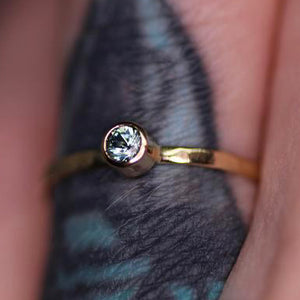 """Aria"" ring: 14K gold Montana sapphire stacking ring (made to order)"