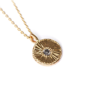"""Botanic"": One of a kind recycled 14K yellow gold and salt & pepper diamond pendant"