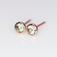"Load image into Gallery viewer, ""Raine"" 14K rose gold & green Montana sapphire earrings (one of a kind)"