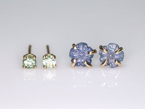 """Fleur"" 14K gold & Montana sapphire flower prong earrings (one of a kind)"