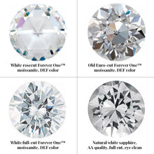 Load image into Gallery viewer, Group photo divided into 4 squares. From top left: white rosecut ForeverOne moissanite, DEF color. Top right: old Euro-cut ForeverOne moissanite, DEF color. Bottom left: white full-cut ForeverOne moissanite, DEF color. Bottom right: natural white sapphire, AA quality, full cut, eye clean.