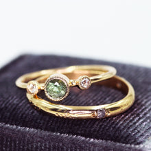 "Load image into Gallery viewer, ""Honore"": 14K Montana sapphire and rosecut diamond milgrain ring"