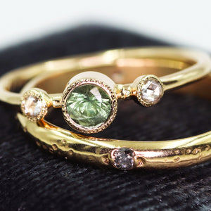 """Honore"": 14K Montana sapphire and rosecut diamond milgrain ring"