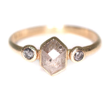 Load image into Gallery viewer, 14K yellow gold salt & pepper hexagon diamond ring (0.68ct total; size 6 (resizing options))
