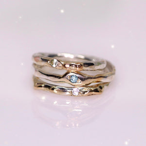 Guardian rings: Montana sapphire 14K and sterling silver (sizes 6, 7.75)