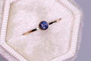 Tiny Full Moon ring: 14K yellow gold & opal dainty ring (limited edition (sizes 3–12))