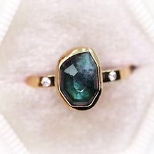 "Load image into Gallery viewer, ""Sylvan"": 14K gold and rosecut tourmaline & white diamond ring"