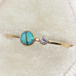 """Gold and moth"": 14K yellow gold opal and diamond ring (size 7.5)"