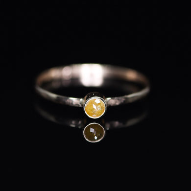 14K yellow gold and rosecut yellow diamond ring (size 6)