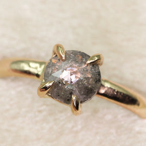 14K yellow gold salt & pepper rosecut diamond claw prong ring