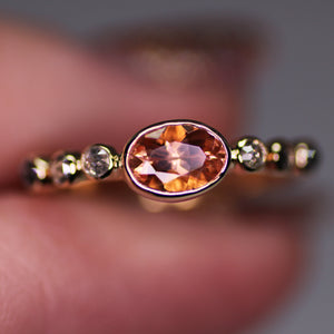 """Eveline"": 7 stone Oregon Sunstone and ombré rosecut salt and pepper diamond ring (size 6.25)"