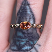 "Load image into Gallery viewer, ""Eveline"": 7 stone Oregon Sunstone and ombré rosecut salt and pepper diamond ring (size 6.25)"