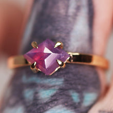 "Load image into Gallery viewer, ""Ava"": 14K yellow gold rosecut sapphire solitaire ring, size 5.75"