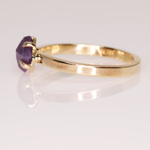 """Ava"": one of a kind 14K yellow gold rosecut sapphire talon prong solitaire ring"