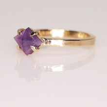 "Load image into Gallery viewer, ""Ava"": one of a kind 14K yellow gold rosecut sapphire talon prong solitaire ring"