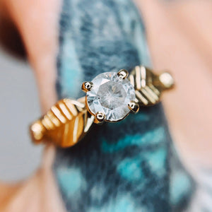 """Meadow"": 14K yellow gold salt & pepper diamond ring"