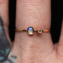 "Load image into Gallery viewer, ""Magnolia"": natural moonstone & diamond ring (size 7)"
