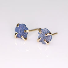 "Load image into Gallery viewer, ""Fleur"" 14K gold & Montana sapphire flower prong earrings (one of a kind)"