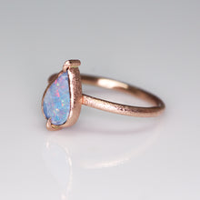 "Load image into Gallery viewer, ""The Queen"" 14K rose gold & Australian opal claw prong ring (size 6; one of a kind)"