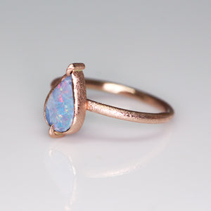 """The Queen"" 14K rose gold & Australian opal claw prong ring (size 6; one of a kind)"