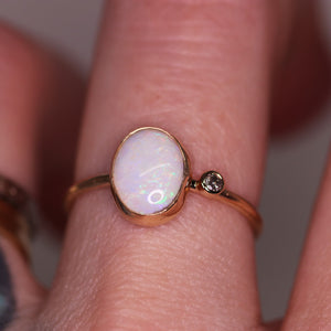"""Laurette"": 14K yellow gold & natural Australian opal ring"