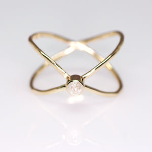 14K Orbit ring (rose/yellow) with diamond or sapphire (sizes 3–12)