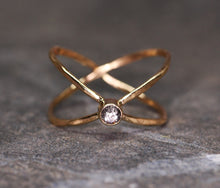 Load image into Gallery viewer, Orbit ring: 14K rose/yellow with diamond or sapphire (made to order)