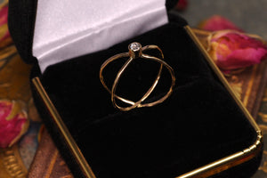 Orbit ring: 14K rose/yellow with diamond or sapphire (made to order)