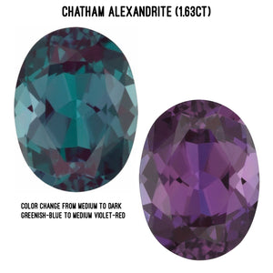 Chatham lab-grown alexandrite (1.63ct), color change