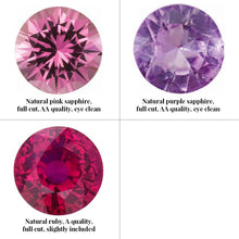 Load image into Gallery viewer, Group photo divided into 4 squares (only 3 gemstones on this photo). From top left: natural pink sapphire, full cut, AA quality, eye clean. Top right: natural purple sapphire, full cut, AA quality, eye clean. Bottom left: natural ruby, A quality, full cut, slightly included.