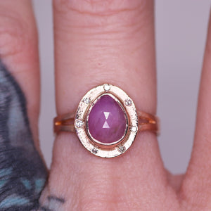 """Primrose"": 14K rose gold sapphire & diamond halo ring"
