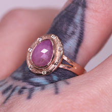 "Load image into Gallery viewer, ""Primrose"": 14K rose gold sapphire & diamond halo ring"