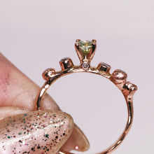"Load image into Gallery viewer, ""Morgaine"": 14K rose gold bicolor Montana sapphire & diamond ring"