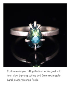 Create your own solitaire ring: 1.07ctct inky blue/periwinkle Kashmir sapphire