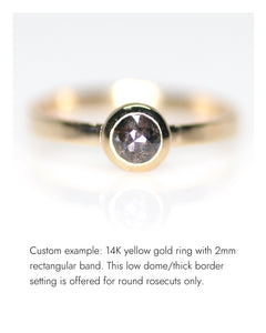 Create your own solitaire ring: 0.80ct Salt & Pepper kite rosecut diamond