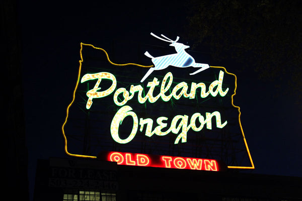 Portland's white stag sign