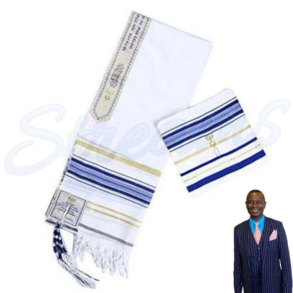 New Covenant Prayer Shawl, English / Hebrew & Bag (Israel) Holy Land (Blue) - Small