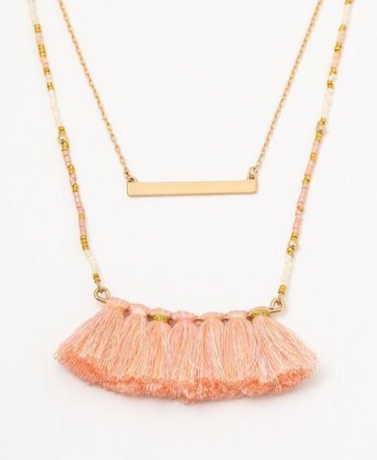 She's a Peach beaded layered tassel necklace (multi peach) - Mint Boutique