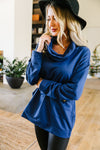 Safe & Sound Cowl Neck In Blue