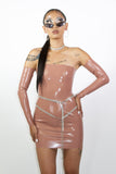 Rose Gold Tube Dress with Sleeves