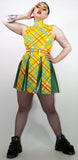 Yellow Tartan Pleated Skirt