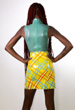 Yellow Tartan Slit Mini Skirt
