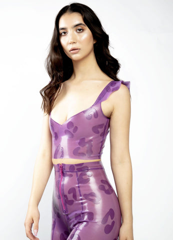 Sheer lilac leopard frill latex top, kitkat club, berghain, berlin queer femme fashion
