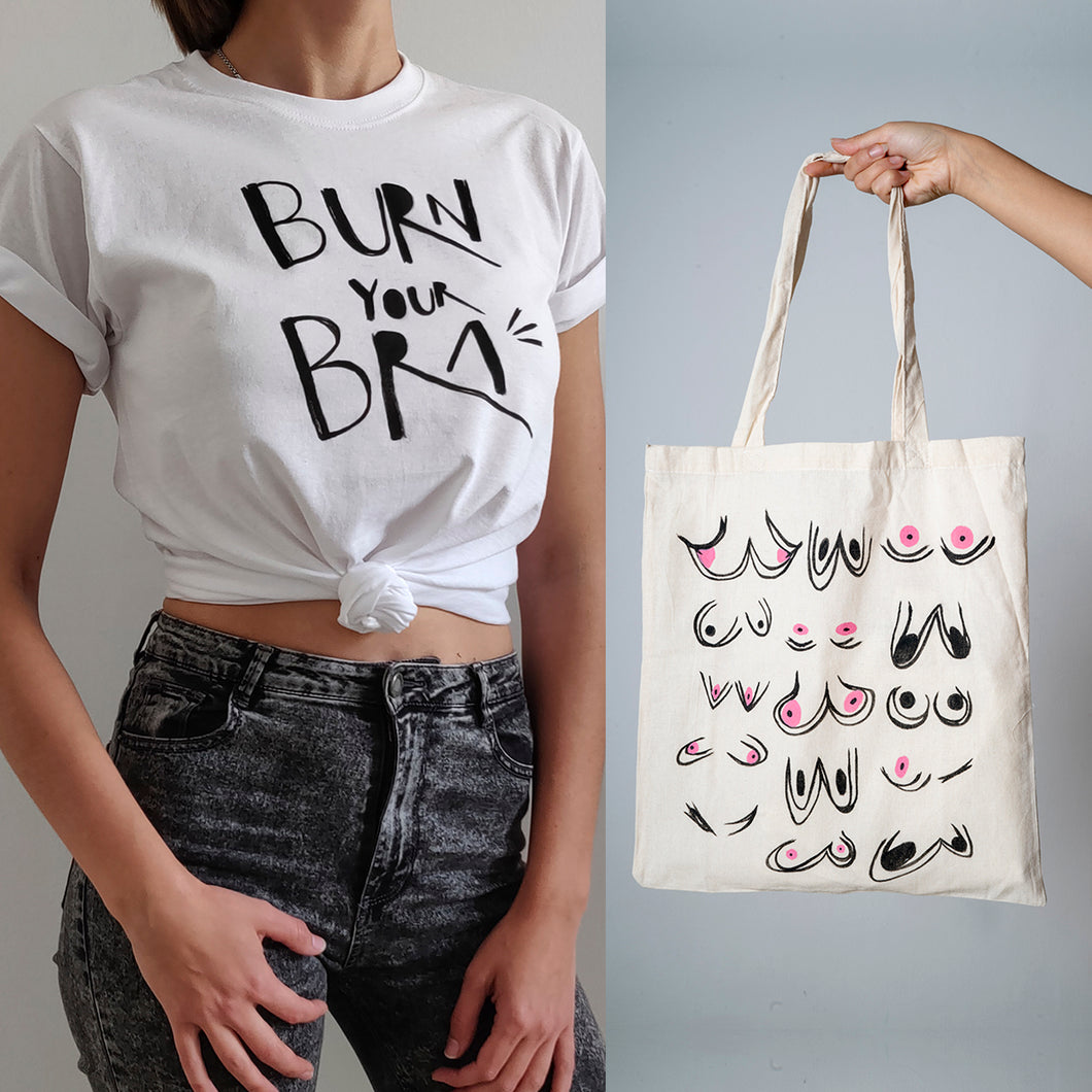 PACK OFFER Burn your Bra T-shirt + Tote bag