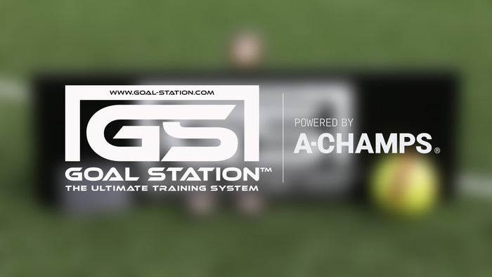 Goal station powered by a-champs for soccer training