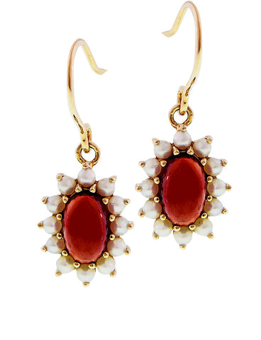 Petite dangle earrings with Small oval Garnet