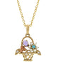 Antique reproduction 14 karat yellow gold flower basket pendant with amethyst, pink coral, turquoise, diamond and seed pearls, victorian fashion jewelry & etc